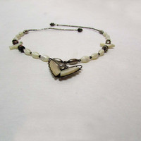 Vintage 1970's Silver and Mother of Pearl Butterfly Choker Necklace Doves