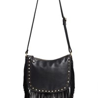Junior Women's Street Level 'Hobo' Faux Leather Fringe Crossbody Bag