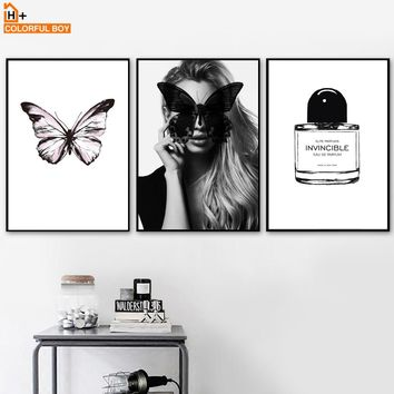 Sexy Girl Perfume Butterfly Wall Art Canvas Painting Nordic Posters And Prints Black White Wall Pictures For Living Room Decor