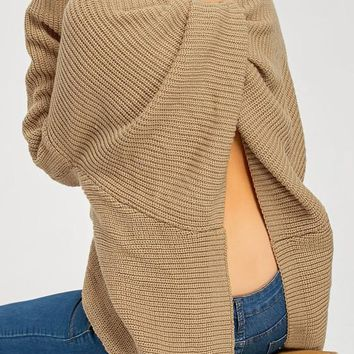 Khaki Backless Back Split High-Low Slouchy Oversize Long Sleeve Sweater Pullover