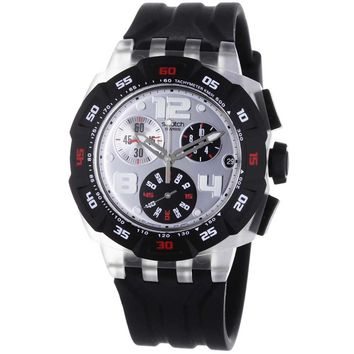 Swatch SUIK400 Men's Silver Dial Black Rubber Strap Chronograph Watch