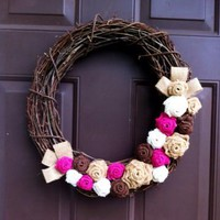 Fall Burlap Grapevine Wreath for Front Door or Wall