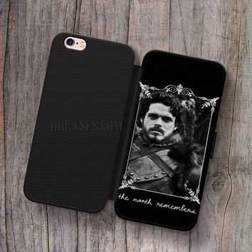 Wallet Leather Case for iPhone 4s 5s 5C SE 6S Plus Case, Samsung S3 S4 S5 S6 S7 Edge Note 3 4 5 Robb Stark Game Of Thrones Cases