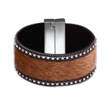 Men's Ladies Cuff Wristband Leather Rivet Bracelet