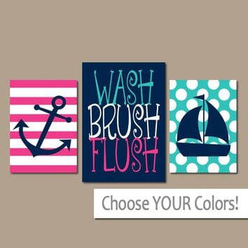 NAUTICAL BATHROOM Wall Art, Wash Brush Flush, Canvas or Prints, Anchor Sailboat, Brother Sister Decor, Boy Girl Ocean Bath, Set of 3