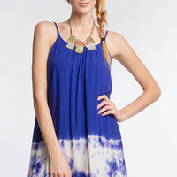 Royal Blue Sleeveless Shift Dress with Tie Dye Detail