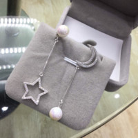 Fashion personality star moon Pearl 925 Sterling Silver Pendant Earrings, a perfect gift