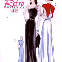 40s Evening gown and jacket pattern 1948 40s Retro dress Reproduction sewing pattern Butterick 5136 Sz 6 to 12 or 14 to 20 UNCUT