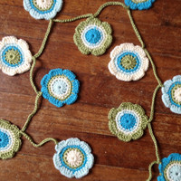 Hand Crochet Garland Small Doily Decoration, 12 Nature Flower Doily Bunting Banner in Green, Bright Teal, Aqua and Cream