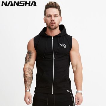 NANSHA 2018 VQ Mens Cotton Hoodie Sweatshirts fitness clothes bodybuilding tank top men Sleeveless Trend Tees Shirt Casual golds
