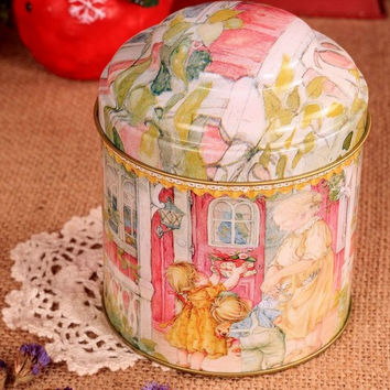 Retro Style Grandma House Balcony Pink Kitchen Coffee Tea Sugar Container Jar Metal