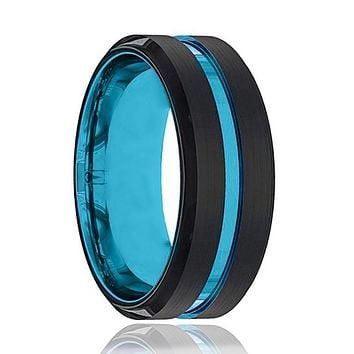 Blue Tungsten Ring- Black Tungsten Wedding Band - Groove Beveled Edge - Tungsten Wedding Ring - Mens Tungsten Ring