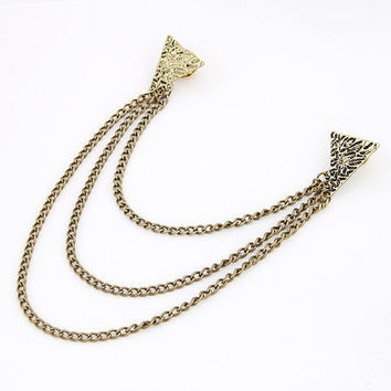 Retro Punk Style Siamese Geometric Triangle Collar Chain, Clothing Accessory, Fashion Jewelry, Party Jewelry, Gift for Friends 11052758