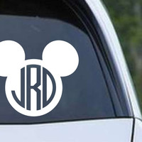 Mickey Mouse Circle Monogram Die Cut Vinyl Decal Sticker