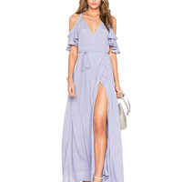Blue Cold Shoulder Ruffle Sleeves Maxi Dress