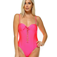 Hailey Neon Coral Laced Swimsuit