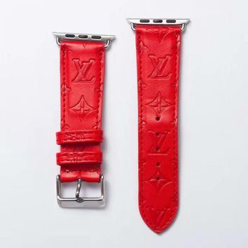 LV EMBOSS APPLE WATCH BAND - RED