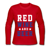 Red Wine And Beer, July 4th, July Fourth, Women's Long Sleeve Jersey T-Shirt