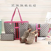 GUCCI NEW Women's Counters Stylish High Quality Four-piece F-KSPJ-BBDL rose red