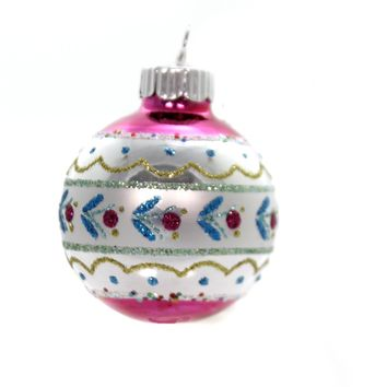 Shiny Brite VC DECORATED ROUNDS. Glass Ornament 4027633S Pink