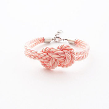 Bridesmaid bracelet - blush wedding - old rose - peach - nautical wedding gift - infinity knot bracelet - tie the knot bracelet