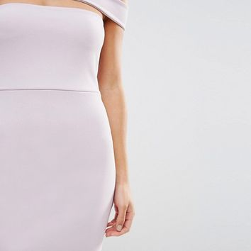 Missguided Petite Cut Out Panel Bardot Bodycon Dress at asos.com