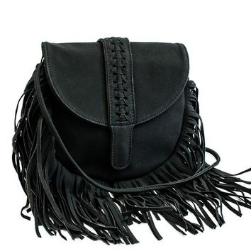 Peyton Fringe Purse Black