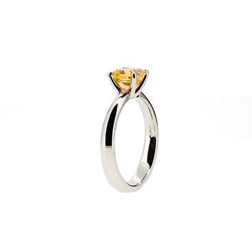 Emerald cut yellow sapphire solitaire ring, square, white gold, yellow gold, unique engagement ring, sapphire engagement, orange gemstone