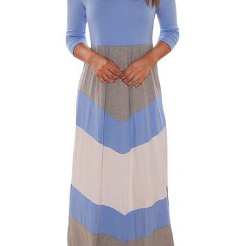 Blue and Gray Half Sleeve Chevron Maxi Dress