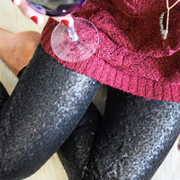 Starry Night Sequin Pants Black