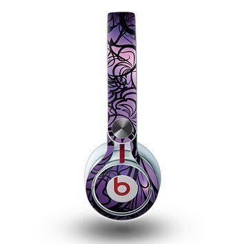 The Violet with Black Highlighted Spirals Skin for the Beats by Dre Mixr Headphones