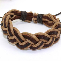 Bracelet Braided Bracelet Leather Rope Wrap Bracelet Cuff Adjustable B563