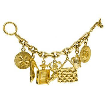 1990's Chanel Gold Plated Charm Bracelet