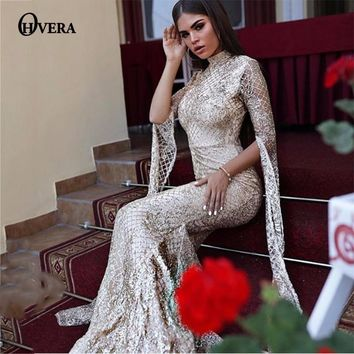 Ohvera Mesh Sequin Bodycon Dress Women Sexy Summer Party Dresses 2018 Turtleneck Flare Sleeve Autumn Long Maxi Dress Elegant