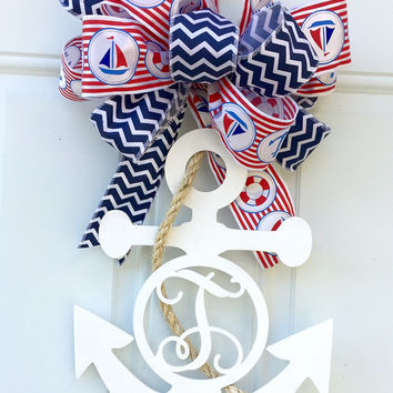 Monogram Anchor - Monogram Anchor Door Hanger - Monogram Anchor Decoration - Monogram Anchor Wreath - Anchor Door Hanger - Anchor Wreath