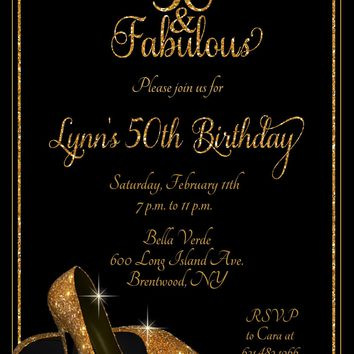 Gold Glitter Shoes Birthday Party Invitations