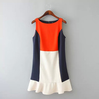 Summer Stylish Stretch Ruffle Round-neck Sleeveless Vest Dress One Piece Dress [4917883652]