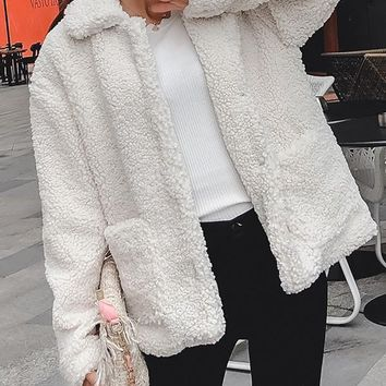New White Fur Pockets Single Breasted Turndown Collar Long Sleeve Casual Coat