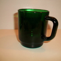 Vintage Green Glass Coffee Mug France 23 Retro Kitchen Christmas St. Patrick's Day
