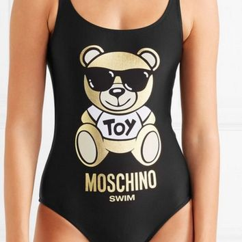 shosouvenir Moschino Teddy Bear Metallic Printed Swimsuit Bodysuit One-piece Bathing Suit