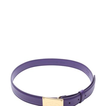 Prada Purple Saffiano Leather Logo Plaque Belt | Bluefly