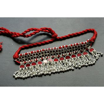 Red Glass Afghan Choker Necklace