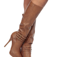 Chestnut Faux Leather Knee High Platform Boots