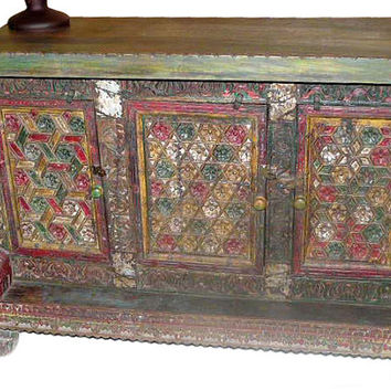 indian damchia Antique Jaipur Colorful Floral Sideboard Buffet Chest red green patina india furniture