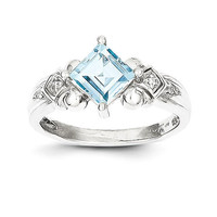 10k White Gold Square Princess  Genuine Aquamarine & Diamond Ring