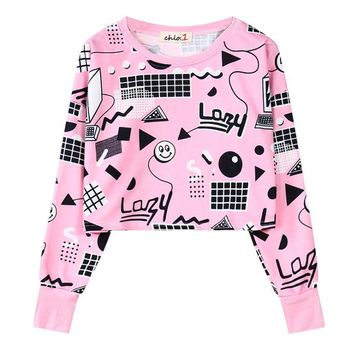 Lazy Geometric Doodle Crop Top Long Sleeve