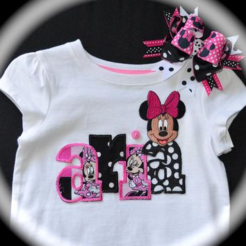Custom Boutique Girls Toddler Disney Vacation personalized Hot Pink MINNIE Mickey MOUSE APPLIQUE Shirt with your child's name mommy ladies adult sizes women's family matching vacation shirts