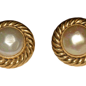 1980s Chanel Faux-Pearl Button Earrings