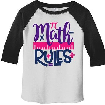 Kids Cute Math Raglan Math Rules Back To School Shirts Boy's Girl's Shirts By Sarah