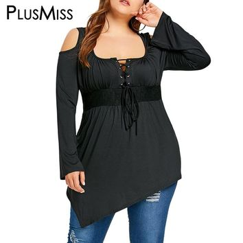 PlusMiss Plus Size Vintage Retro Black Cold Shoulder Lace Up Blouse Women Autumn 2018 Long Sleeve Long Tunic Tops Female Blusas